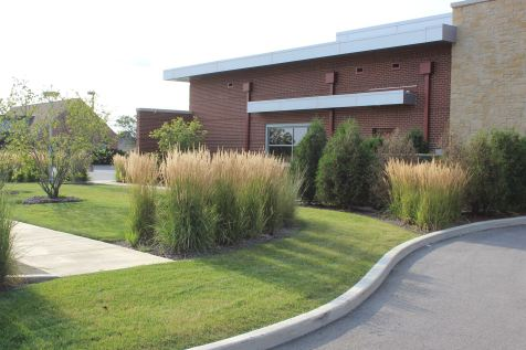 Turf and plantings near drive-thru in Metamora